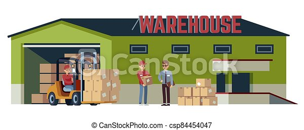boîte, élévateur, marchandises, pitman, industrie, palettes, ensemble, carton, collé, acceptation, vecteur, plat, transport, entrepôt, opérations, bâtiment., beige, logistique, expédition, chargeur, dessin animé, en mouvement - csp84454047