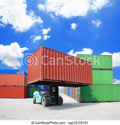 boîte, élévateur, récipient, maniement - csp19105161
