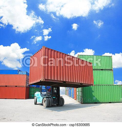 boîte, élévateur, récipient, maniement - csp16300685