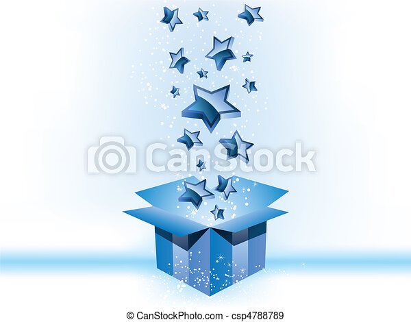 boîte, arrière-plan bleu, cadeau, étoiles, blanc - csp4788789