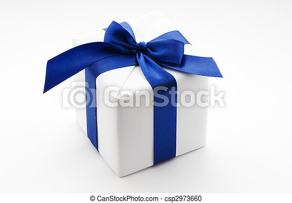 boîte, bleu, ruban blanc, cadeau - csp2973660