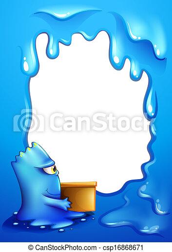 boîte bleue, monstre, porter, gabarit, frontière - csp16868671