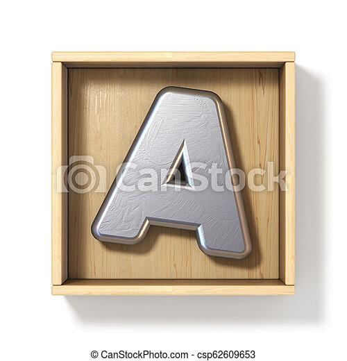 boîte, bois, métal, lettre, argent, 3d - csp62609653