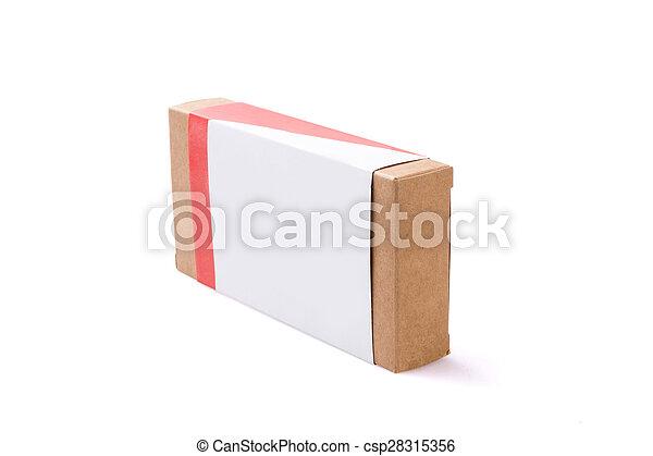 boîte, brun, isolé, fond, paquet - csp28315356
