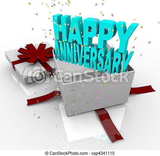 boîte, cadeau, -, anniversaire actuel, heureux - csp4341115