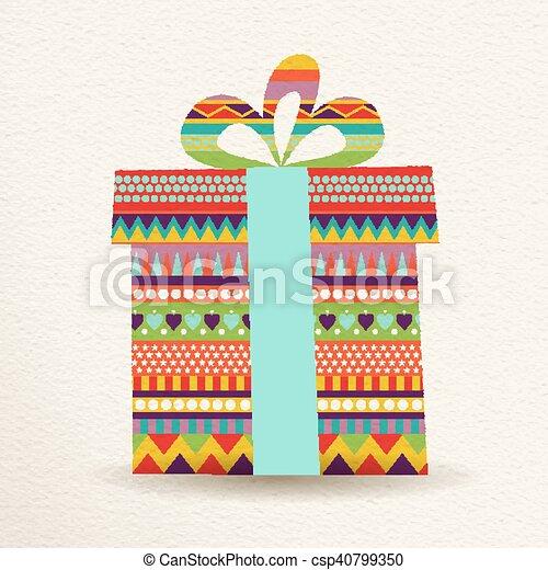 Boîte Cadeau Illustration Couleurs Amusement Noël