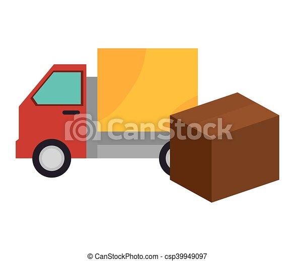 boîte, cargaison, expédition, conception, camion, carton - csp39949097