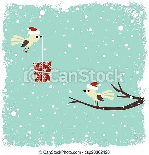 boîte, carte, hiver, cadeau, oiseaux - csp28362428