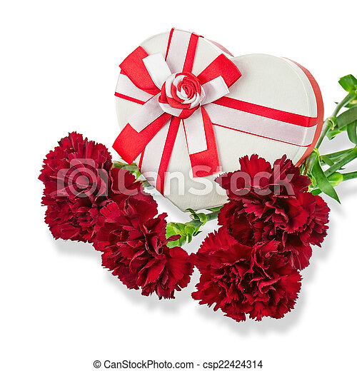 Bo te coeur cadeau bouquet carnations forme bo te for Bouquet cadeau