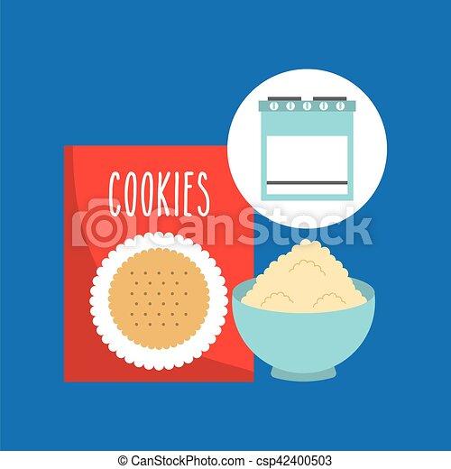 clipart vecteur de boîte, concept, mélange, boulangerie, petit