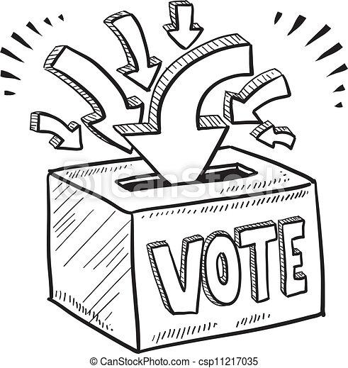 boîte, croquis, vote, vote - csp11217035