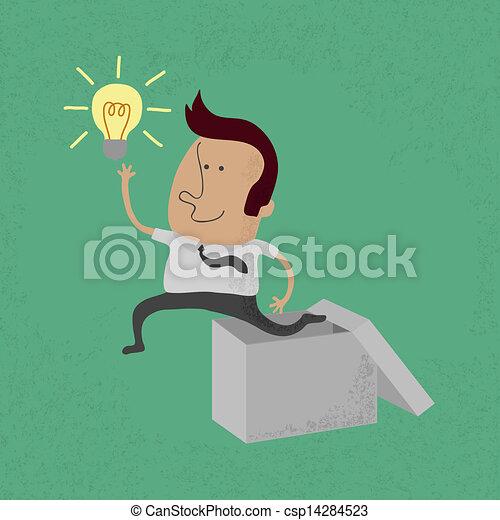 boîte, dehors, pensée, homme affaires - csp14284523