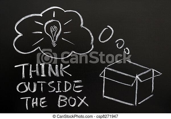 boîte, dehors, penser - csp8271947