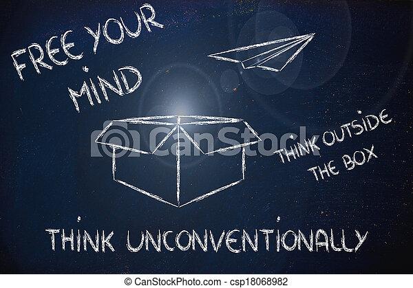 boîte, dehors, vision:, business, penser - csp18068982