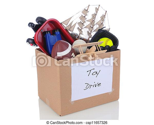 boîte, donation, jouet, conduire - csp11657326