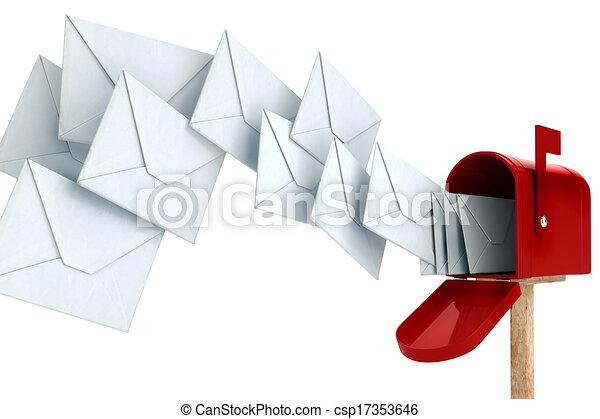 boîte, envoyer enveloppe, 3d - csp17353646
