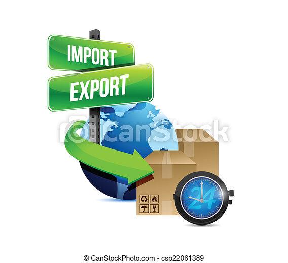 boîte, exportation, globe, montre, importation - csp22061389