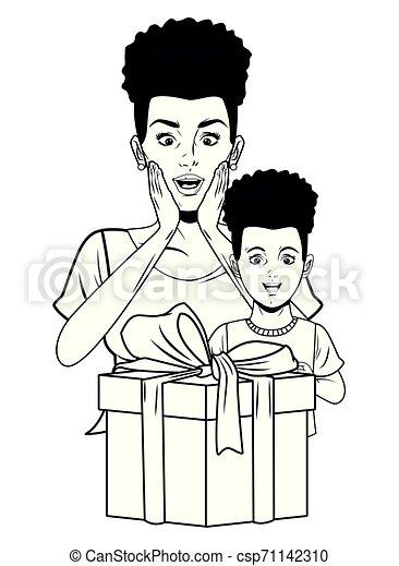 Boîte Femme Art Cadeau Pop Fille Noire Blanc
