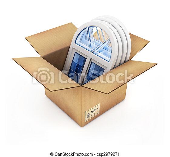boîte, fenetres, carton, plastique - csp2979271