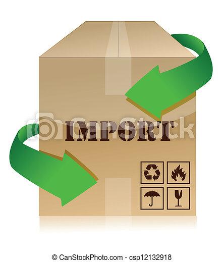 Boîte, importation. Boîte, sur, illustration, fond ...