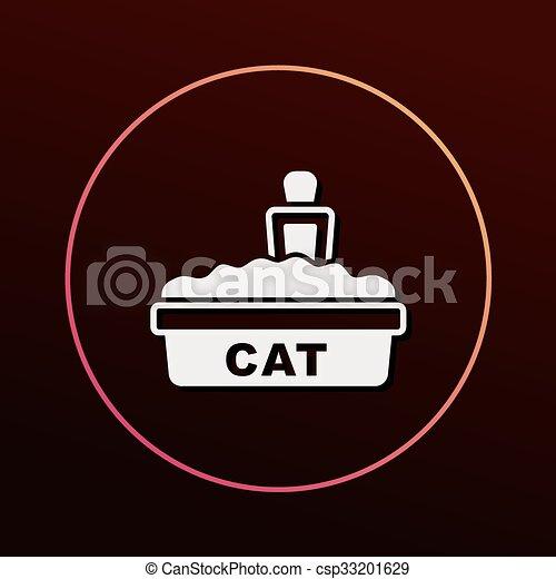 boîte, literie, chat, icône - csp33201629