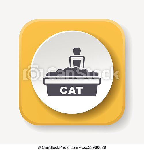 boîte, literie, chat, icône - csp33980829