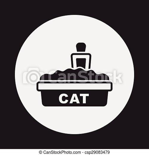 boîte, literie, chat, icône - csp29083479