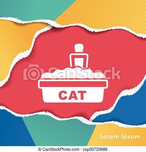 boîte, literie, chat, icône - csp30720686