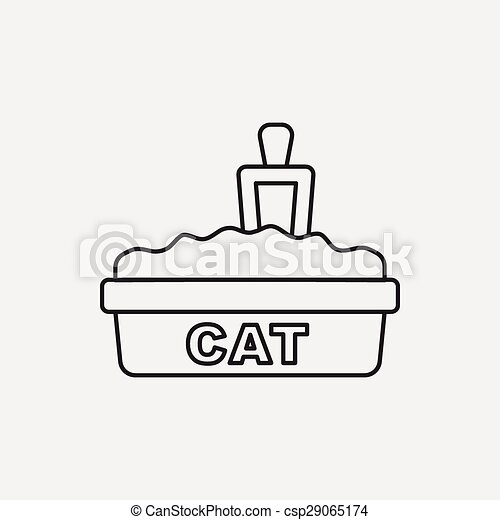 boîte, literie, chat, ligne, icône - csp29065174