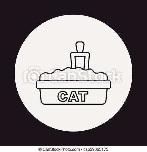 boîte, literie, chat, ligne, icône - csp29065175