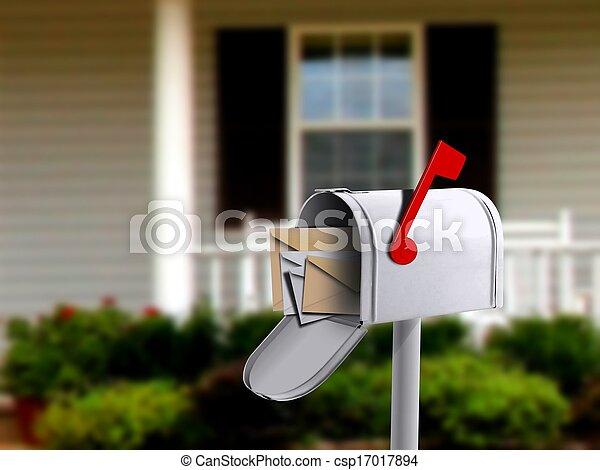boîte, maison, blanc, infront, courrier - csp17017894