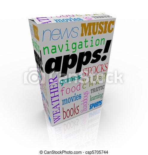 boîte, mot, beaucoup, apps, céréale, types, logiciel - csp5705744