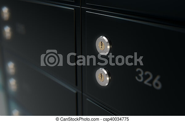 boîte, mur, sûr, noir, dépôt - csp40034775