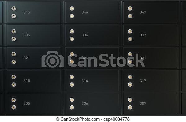 boîte, mur, sûr, noir, dépôt - csp40034778