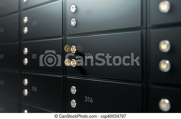 boîte, mur, sûr, noir, dépôt - csp40034797
