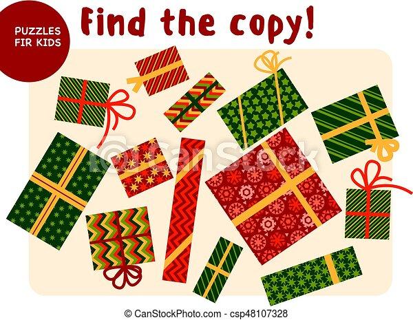 Boîte Noël Ensemble Coloré Cadeau Assorti Couleur Choses Esprit Illustration Trouver Traditionnel Jeu Vecteur Match Style Gosse