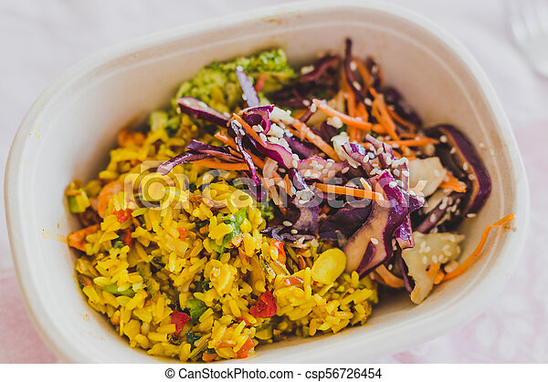boîte, nourriture, loin, déjeuner, prendre, sain - csp56726454