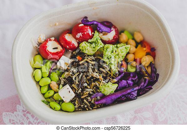 boîte, nourriture, loin, déjeuner, prendre, sain - csp56726225
