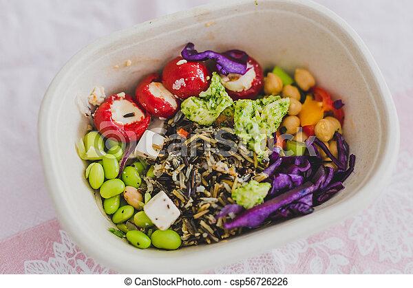 boîte, nourriture, loin, déjeuner, prendre, sain - csp56726226