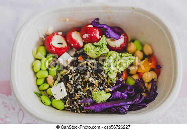 boîte, nourriture, loin, déjeuner, prendre, sain - csp56726227