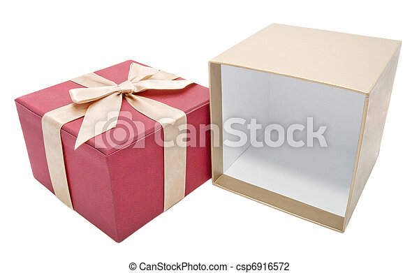 boîte, ouvert, or, couleur, cadeau, vide, ruban - csp6916572