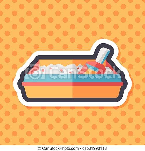 boîte, plat, chouchou, long, chat, literie, ombre, icône - csp31998113