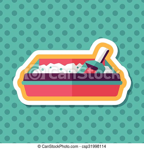 boîte, plat, chouchou, long, chat, literie, ombre, icône - csp31998114