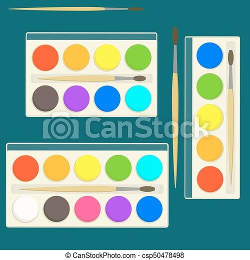 Boîte Plat Différent Ensemble Leçons Peintures Palette Clair Aquarelle Couleurs Vecteur Dessin