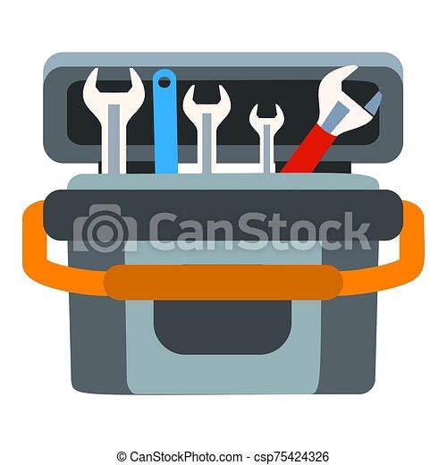 boîte, plat, icône, style, outillage, clã© - csp75424326