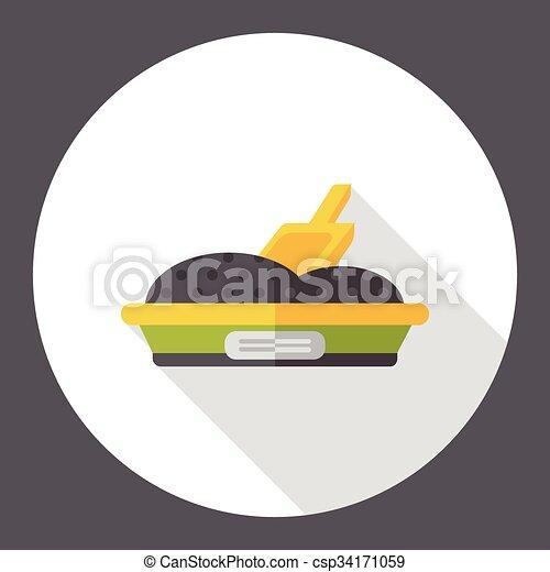 boîte, plat, literie, chat, icône - csp34171059