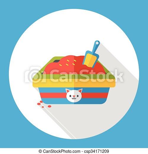 boîte, plat, literie, chat, icône - csp34171209