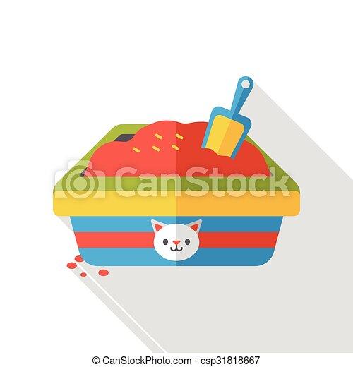 boîte, plat, literie, chat, icône - csp31818667