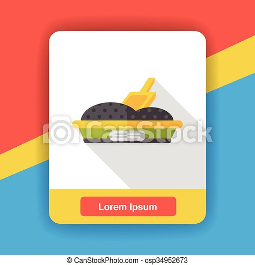 boîte, plat, literie, chat, icône - csp34952673