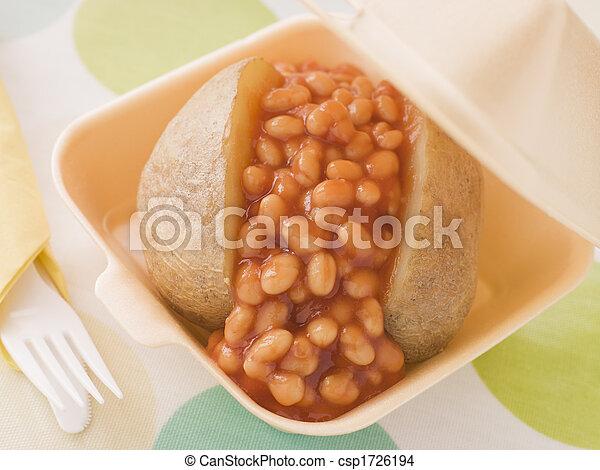 boîte, pomme terre, loin, haricots, prendre, cuit - csp1726194